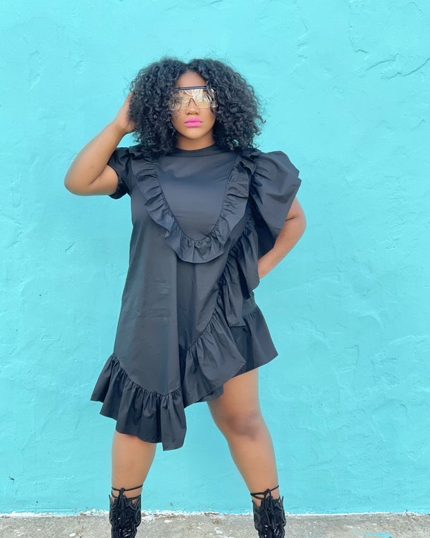 GOLDxTEAL ruffle mini dress. Stylish asymmetrical mini dress with short puff sleeves.
