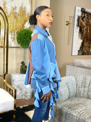 GOLDxTEAL gorgeous patchwork denim top. Stylish paneled button up top with cascading ruffles.