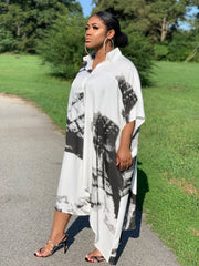 GoldxTeal black and white abstract print shirt dress. Chic and stylish asymmetrical  shirt dress.