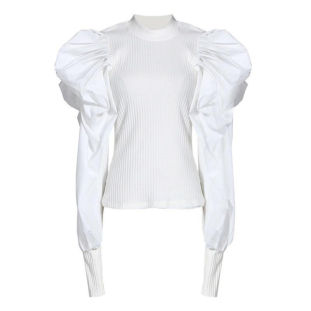 GOLDxTEAL Kasey White Puff Sleeve Top. Stretch mock neck top with fashion forward style puff sleeves.