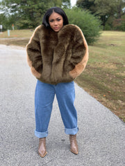 GOLDxTEAL Olive faux fur waist coat. Gorgeous thick and luxurious vegan fur coat, half and half design with olive an olive front color and taupe in the back.