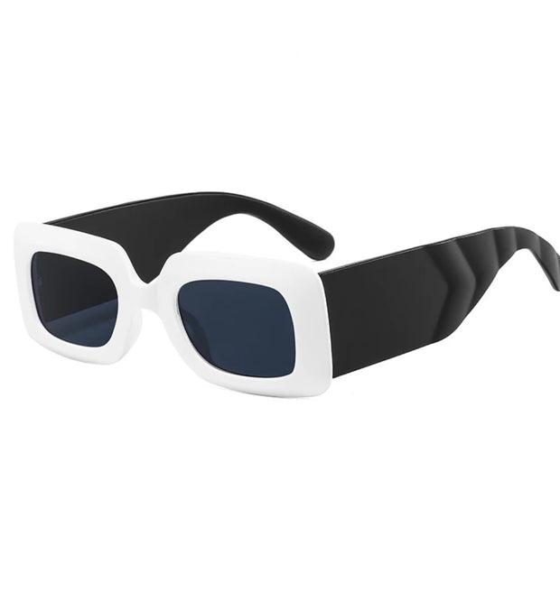 GOLDxTEAL stylish square frame sunglasses. Modern retro style white and black sunglasses.