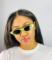 Gold x Teal Slim cat eye sunglasses. Vintage style cat eye fashion sunglasses.