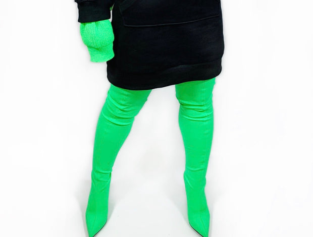 GoldxTeal bright green thigh high boots. High heel green boots.