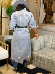 GOLDxTEAL distressed long denim coat. Modern and stylish long denim coat also available in plus size.