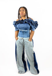 GoldxTeal denim high waist wide leg jeans. Distressed denim wide leg pant with light and dark panels and raw edges.