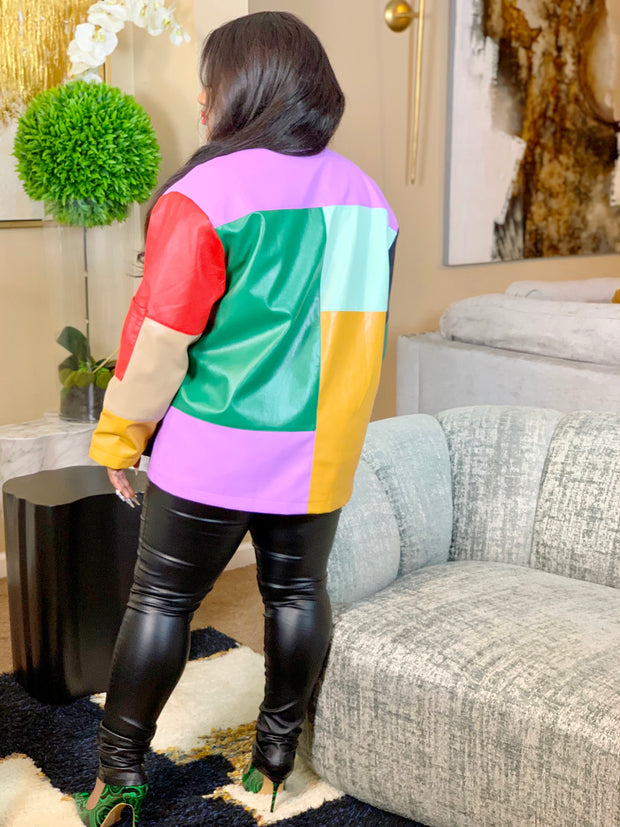 GOLDxTEAL patchwork vegan leather cardigan jacket. Gorgeous colorful  patchwork paneled cardigan.