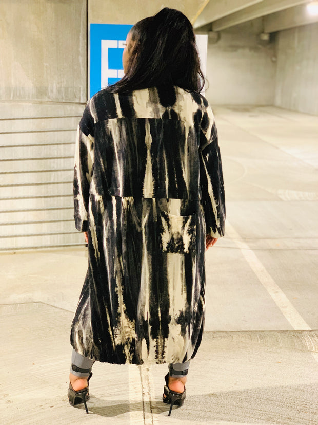 GOLDxTEAL Forever tIe dye long jacket. Stylish tie dye print coat.