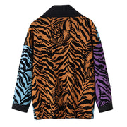GOLDxTEAL Never Scared Cardigan. Gorgeous shimmery animal print patchwork cardigan, double breast with side pockets.