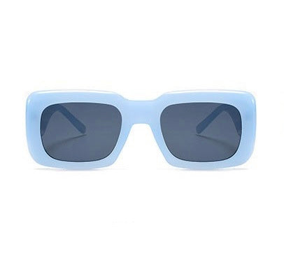 GOLDxTEAL stylish square blue frame sunglasses. Retro style sunglasses.