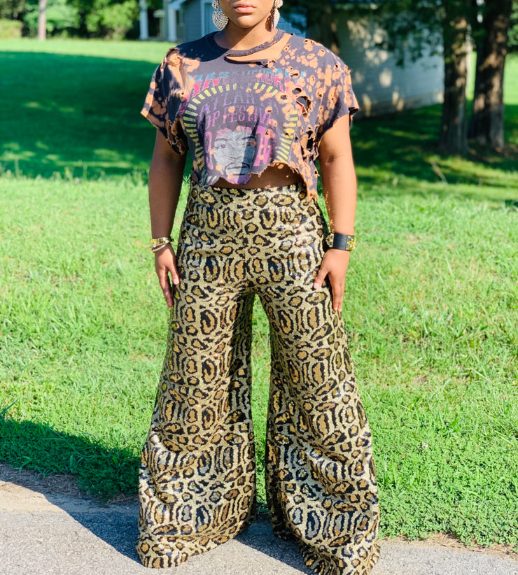 Gold x Teal leopard sequin wide leg pants. Gorgeous waist leopard sequin pants with wide leg bottoms.