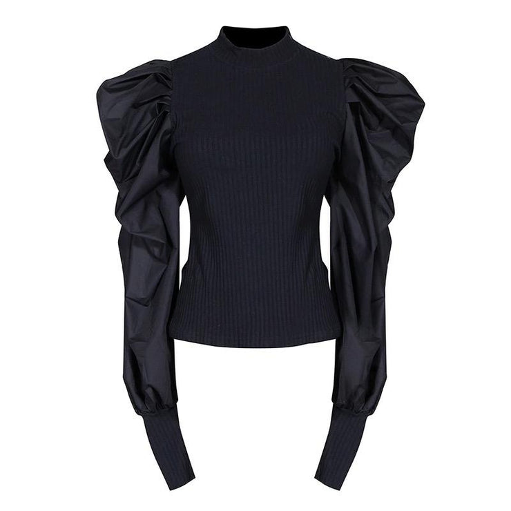 GOLDxTEAL Kasey Black Puff Sleeve Top. Mock neck stretch top.