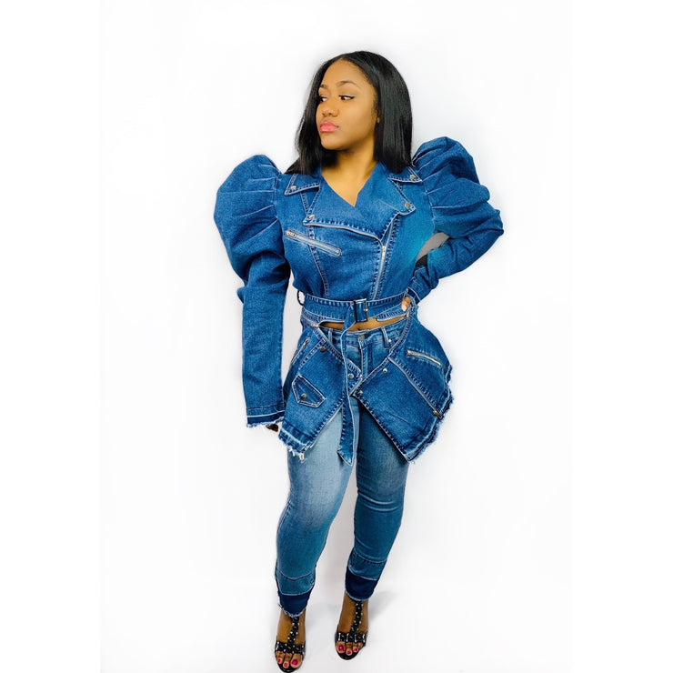 Gold x Teal puff princess denim jacket. Motorcycle style denim jacket with distressing and exaggerated puff sleeves.