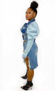 GoldxTeal distressed denim mini skirt. Statement making denim skirt with raw edges, high front and low back, asymmetrical cut.