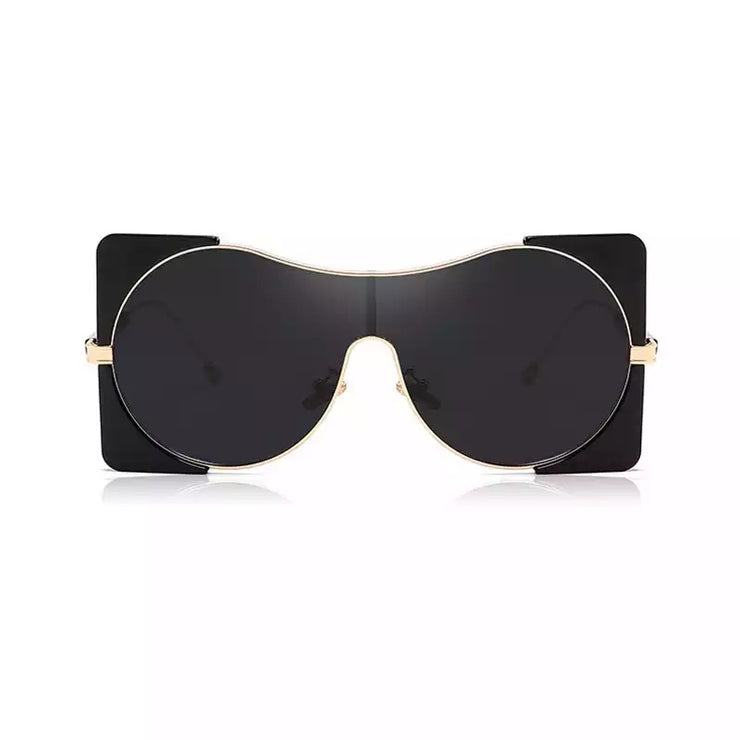 Gold x Teal Zoey gold trimmed aviator sunglasses. Black fashion over sized sunglasses.