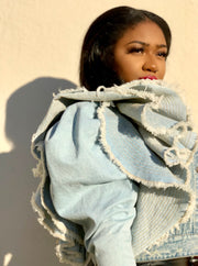 GOLDxTEAL LIVING 2.0 denim jacket. Gorgeous cropped denim jacket with large puff sleeves and oversized ruffles.