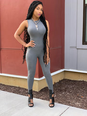 GOLDxTEAL bodycon jumpsuit. Stylish charcoal gray sleeveless bodysuit.