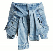 GoldxTeal high waist distressed denim shorts. Designer style denim shorts with faux jacket front tie.