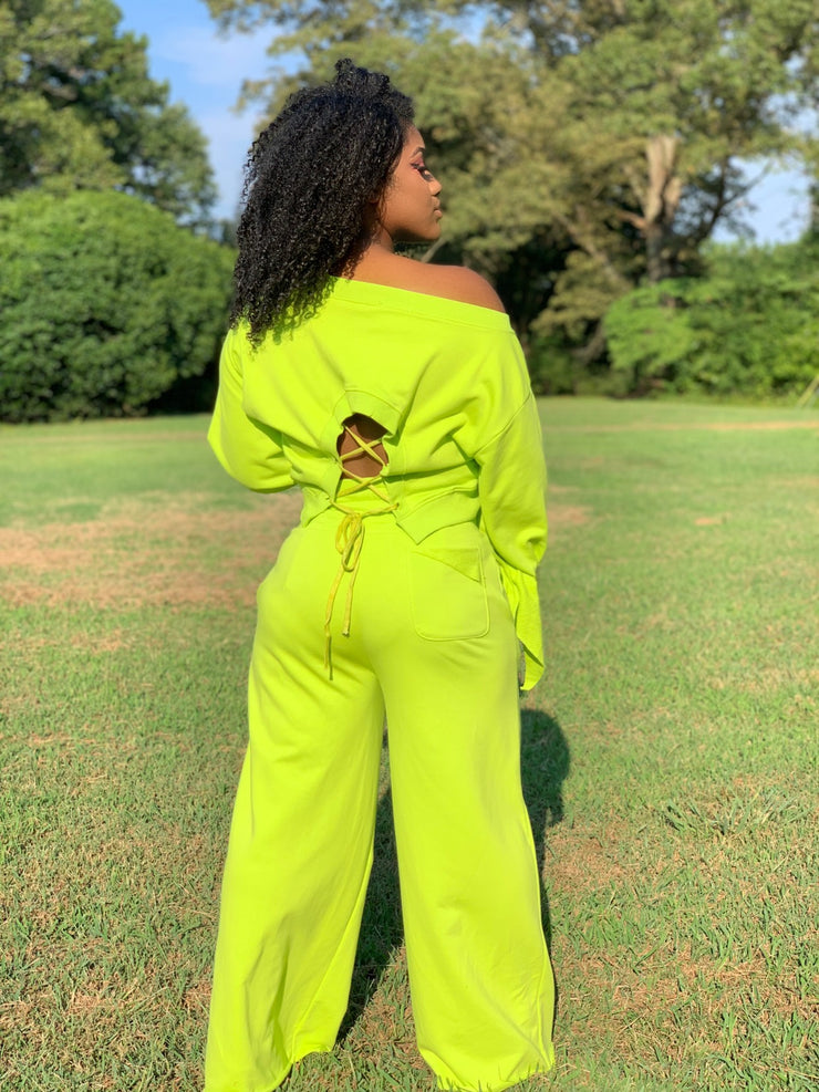 GOLDxTEAL Lime It Lounge Set. Lime green wide leg sweat pants with matching crop top.