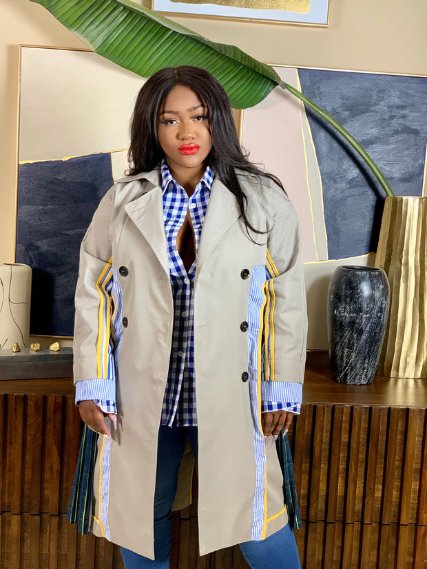 GOLDxTEAL plaid and stripe paneled trench coat.