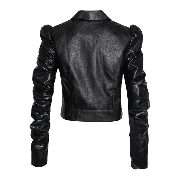 GOLDxTEAL vegan leather waist jacket with gathered sleeves.