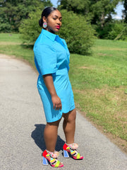 GOLDxTEAL Twisted mini shirt dress. Stylish and chic blue shirt dress with short sleeves.