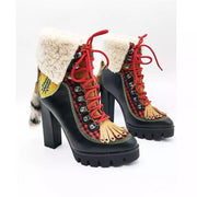 GOLDxTEAL Scotty Boots. Faux shearling longing with ankle cuffs accented with plaid and tassels in a platform heel. Statement boots for the fashionistas.