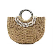 GoldxTeal large embellished straw raffia bag with drawstring canvas lining. Stylish and chic large straw handbag.