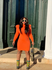 GOLDxTEAL stylish orange sweater dress with puff sleeves.