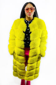 Gold x Teal bright citrine faux fur coat. Luxurious, thick and fluffy vegan fur long coat in bold citrine color.