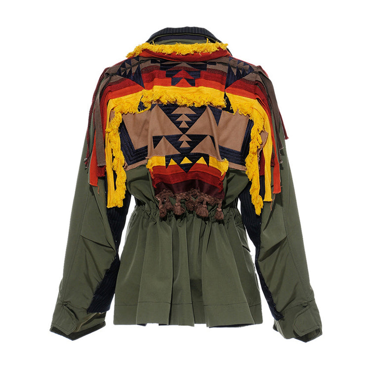 GOLDxTEAL Tibet Flow Jacket. Patchwork double breasted jacket with shoulder tassels and embroidery.