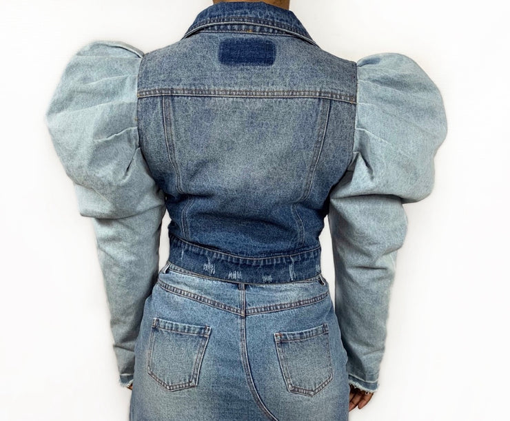 GoldxTeal Living denim puff sleeve jacket. Gorgeous denim jacket with distressing patchwork detailing and exaggerated princess puff sleeves.