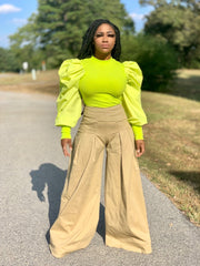 GOLDxTEAL Meka Pants. High waist palazzo pant with a pleated waist.