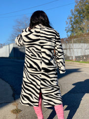 GOLDxTEAL gorgeous zebra print coat.