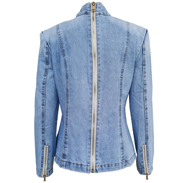 GOLDxTEAL Butterfly Denim Shirt. Gorgeous denim shirt with exaggerated neck ow. Long sleeves and back zipper closure.