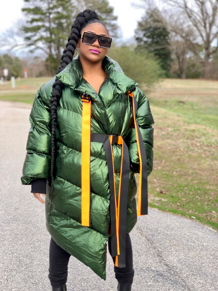 GOLDxTEAL Magic Dragon Puffer Coat. Metallic Green Puffer Coat.