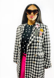 Gold x Teal houndstooth blazer coat. Gorgeous double breasted houndstooth coat.