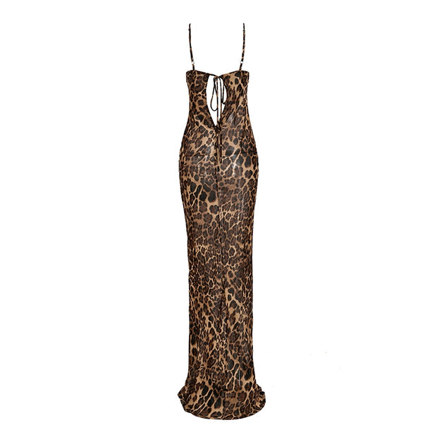 GOLDxTEAL Sheer Hottie Maxi Dress. Figure flattering sheer Leopard print maxi dress with draping bust line and spaghetti straps.