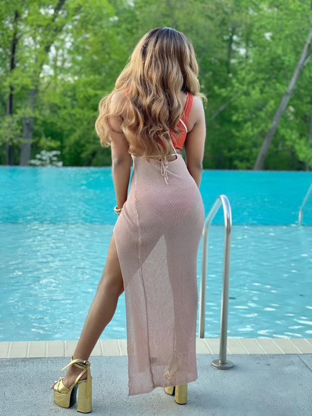 GOLDxTEAL summer halter dress. See through long cover up dress.