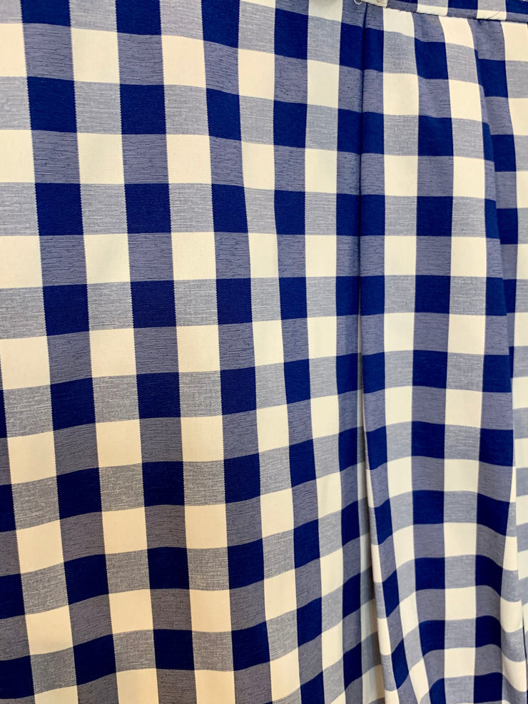 GOLDxTEAL stylish blue and white checkered shirt. Modern plaid shirt with wide cuffs.