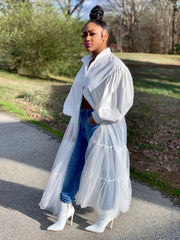 GOLDxTEAL So Fresh Shirt. White long button up shirt with lantern sleeves and ruffled netted bottom.