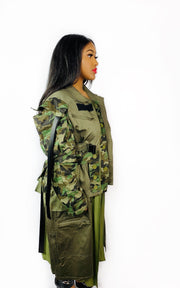 Gold x Teal camouflage trench coat.