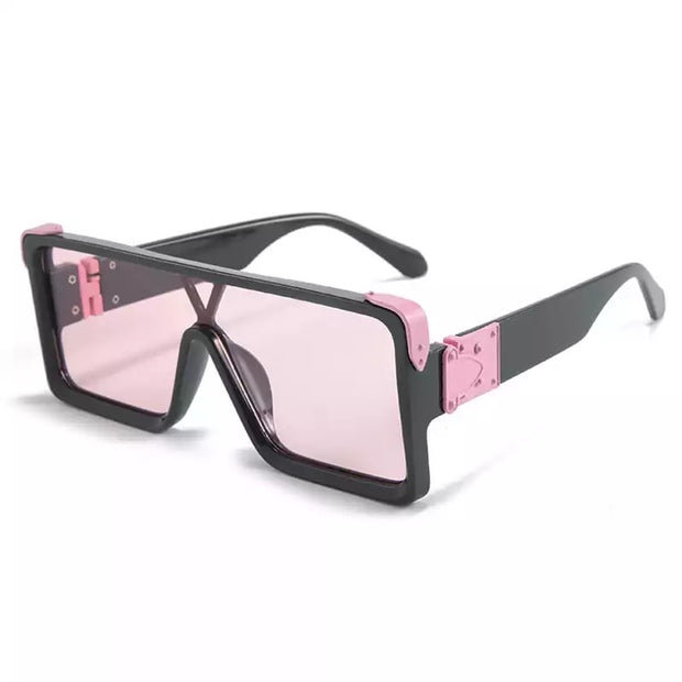 GOLDxTEAL Pink Dust Fashion Sunglasses. Over sized square frame fashion sunglasses.