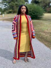 Gold x Teal handmade colorful crochet long cardigan. Available in red multi color and black multi color.