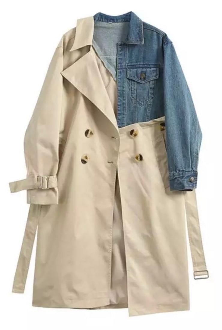 GoldxTeal Another Day Trench Coat. Classic trench style meets denim paneling for a chic, modern stylish trench coat. Trench coat with denim paneling.