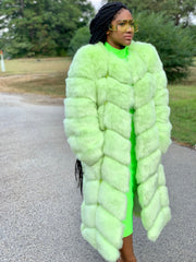 GOLDxTEAL Boss Lime Vegan Fur Coat. Gorgeous thick and fluffy lime color fur coat. Long fur coat with side pockets.