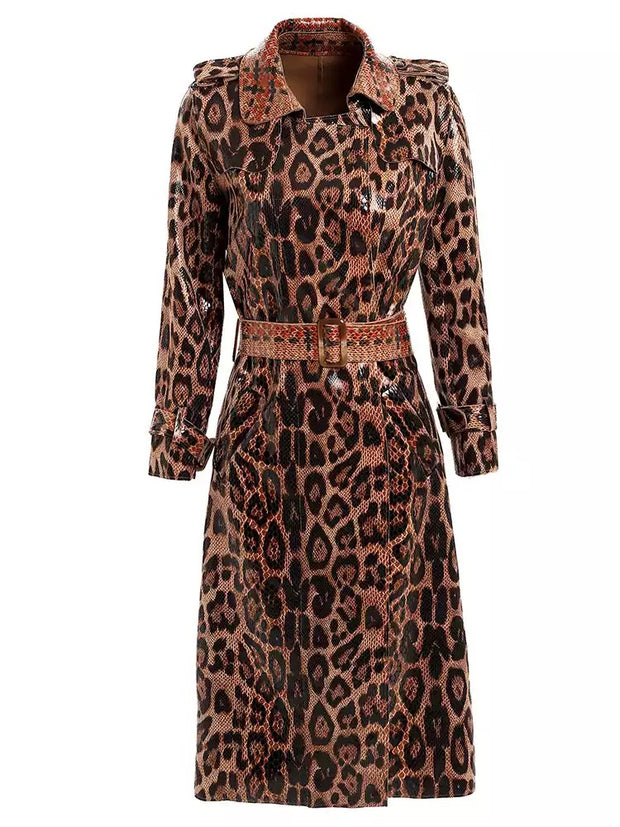 GOLDxTEAL Desiree Vegan Leather Trench Coat. Gorgeous vegan leather animal print and plaid trench coat.