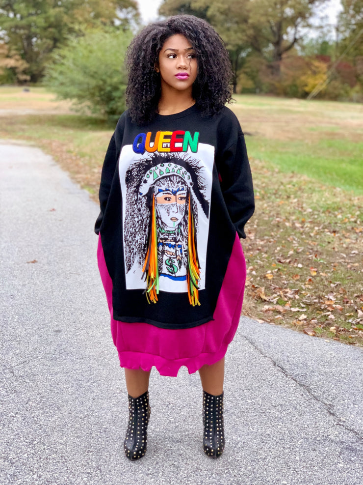 GOLDxTEAL Now You Know Sweatshirt Dress. A gorgeous, colorful and fun sweatshirt dress.