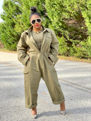 GOLDxTEAL oversized army green jumpsuit. Modern boiler room style jumpsuit.