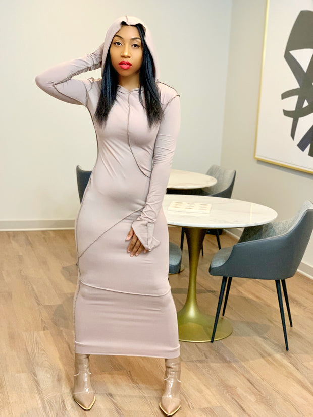 GOLDxTEAL soft bodycon dress with a hood.